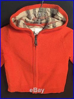 Burberry Infant Boy/girl Unisex Children Kids Zip-up Hoodie Sweater! 6 Months