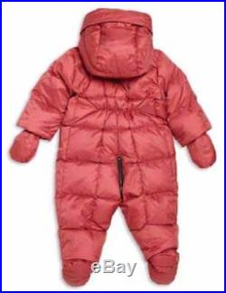 Burberry Infant Skylar Down Hooded Snowsuit Peony Rose Size 12 Months Nwt $350