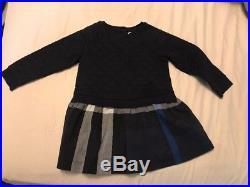 Burberry Mini Orlia baby girls navy blue nova check quilted dress 2Y