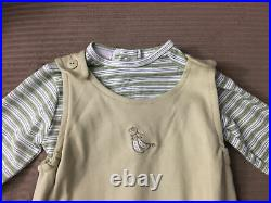 Cherokee Baby Cloth Overalls withGreen Striped Bodysuit Boy's 3-6 m Pea Pod Footed