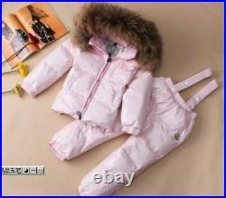 Children's Winter Baby Wear Down Jacket Dress White Duck Polyester Solid Suit