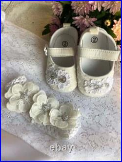 Christening Gown for girl, Booties and headband Baby Baptism Clothes