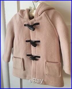 EUC Burberry Baby Little Girls Pink Wool Toggle Jacket Coat 18 24 M