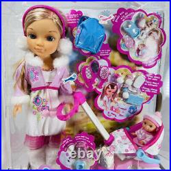 Famosa NANCY DOLL IN WINTER CLOTHING with BABY SISTER LESLEY Stroller NEW IN BOX