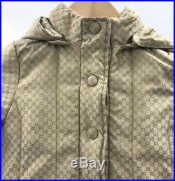 GUCCI Brown Beige GG Logo Padded Hood Winter Coat Girls Age 18/24 Months