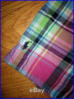 Girl's Ralph Lauren Pink Blue Plaid Ruffle Shirt Top Size 4 4T