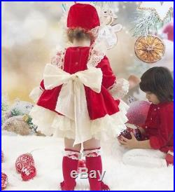 Girls Spanish Red Velvet Puffer Dress With A Bonnet, Knickers, Socks And Shoes