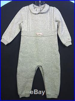 Gucci Gg Web Detail Logo Infant Girls Gray One Piece Pj's Onesie! Sz 9-12 Months