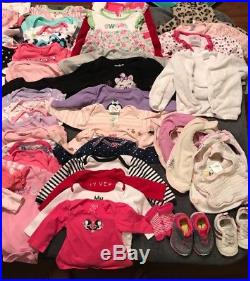 HUGE 82pc Baby Girl 0-6 FALL WINTER clothes lot 6-9 12 month OUTFITS SLEEPERS+