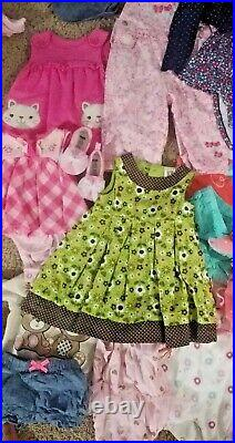 HUGE LOT of 70 pc Size 0-12 mo Baby Girl Clothing Mix Bundle +3 pair of shoes