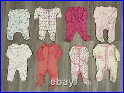 Huge Lot Of Baby Girl Clothes In Size 0-3 Month Old, 60 pieces