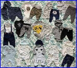 Huge lot Bundle Carters Baby Boy Clothes Outfits sleepers Over 50 PCs 0-3m