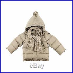 Il gufo Baby Boy Daunen Jacke sandgrau Steppjacke mit Kapuze NP 225,00
