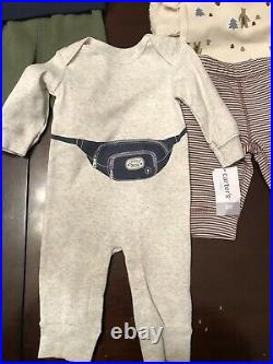 Infant Baby Boy 3 Month Carters Clothing Lot Fleece Hoodie Stripped Pants