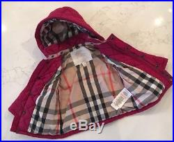 Infant Burberry Jamie Quilted Hooded Puffer Jacket Baby Girls 9M $195
