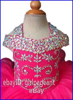 Infant/toddler/baby Crystals Off-shoulder Gliz Pageant Dress 3T G081-3