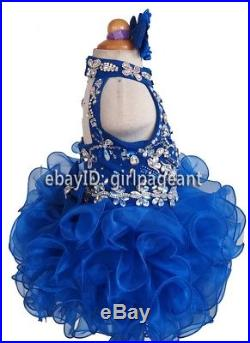 Infant/toddler/baby Halter Heavy Beading Crystals Pageant Dress 3T G284-6