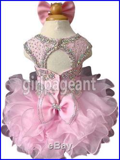 Infant/toddler/baby Pink Lace Crystals Beaded Pageant Glitz Dress G204DP