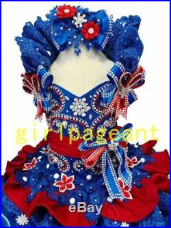 Infant/toddler/baby Royal Lace Crystals/rhinestone Pageant Glitz Dress G015RR