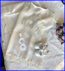 Ivory Christening Gown for girl, Booties and headband Baby Baptism Clothes