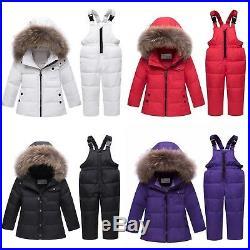 Jacket Real Fur Baby Boy Overalls Kids Coat Snowsuit Snow Clothes Girls