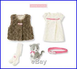 Janie and Jack baby girl All in BowDress/Sherpa Vest/Tights/ 5 pc Set 12-18m