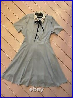 Joanie Clothing Zooey Baby Blue Swan Collar And Bow Tea Dress Size 12 Brand New