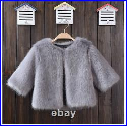 Kids Baby Fur Jackets Girls Fashion Thicken Winter Coat Hooded Outerwear Clothes