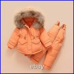 Kids Down Jacket Suit Winter Baby Suspender Trouser Girl Raccoon Hair Ski Attire