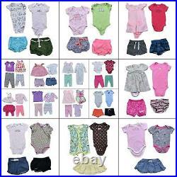 Lot 65 Girls Winter Clothing Bundle Size 0-6 months Baby Warm Tops Pants Dresses