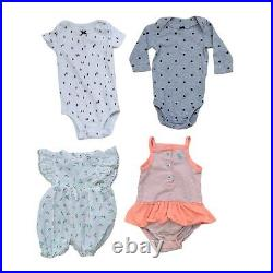 Lot 70 Baby Girls Clothing Bundle Infant Size 0-6 months Bulk Outfits Jumpers
