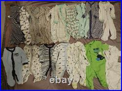Lot Baby Boy Clothes Newborn 0-3 Months 104pc swaddlers sleeper pjs onesies