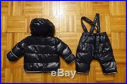 MONCLER Baby Boy's Navy Blue Down Jacket Coat Puffer Snowsuit Size 6-9 Months