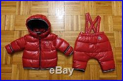 799a4378b MONCLER Baby Boy s Red Down Jacket Coat Puffer Snowsuit Size 6-9 ...