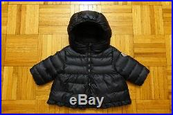 MONCLER Baby Girl's Navy Ruffle Down Jacket Coat Puffer Size 6-9 Months