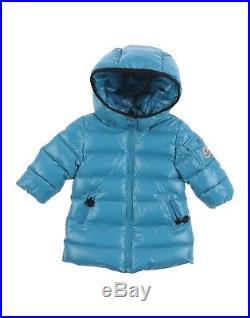 MONCLER Moka Baby Boy's Aqua Blue Long Down Jacket Coat Puffer Size 3-6 Months