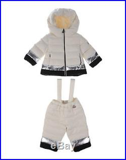 MONCLER Thalie Baby Girl White Down Jacket Coat Pants Snowsuit Size 3-6 Months