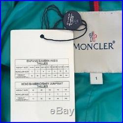 MONCLER UNISEX BABY SNOW SUIT. EMERALD COLOR. SIZE 1, 80-90 cm, 12 MONTHS