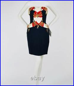 MOSCHINO Couture 89 Cruise Me Baby Life Preserver Blue Red Fish Charm Dress