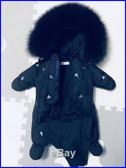 Manudieci Snowsuit Infant Boys 0-6 months Italian Made Down Real Fur Blue Luxury