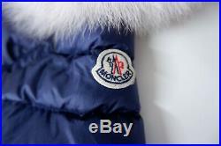 Moncler Baby Coat, Size Age 3-6 Months 62cm, Blue, White Fur, VGC