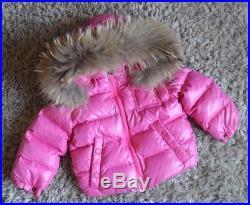 bbdeb01120cd Moncler Baby Girl Designer Raccoon Fur Down Filled Pink Coat 1-2 ...