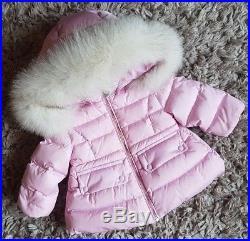 Moncler Baby Girls Designer Down Filled Fox Fur Trim Winter Coat 3-6 Months Exc