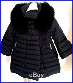 Moncler Baby Girls Down Feather Navy Blu Jacket Fox Fur Collar GIFT 24 months 2Y