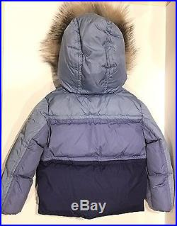 Moncler Toddler Child Blue/Purple Puffer Jacket with Real Fox Fur Hood 18-24m 86cm