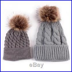 Mum & Baby Mother Child Matching Knitted Hat Warm Winter Kid Beanie Wool Skully