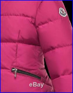 NEW $525 Moncler Girls AUBETTE Raspberry Down Puffer Jacket Parka, Sz 3A/98cm