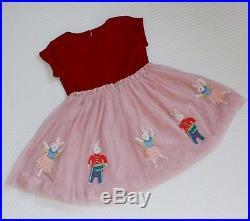 NEW Mini Boden Girls Velvet Tulle Dress 3 4 Y Nutcracker Party Bunny Pink Purple
