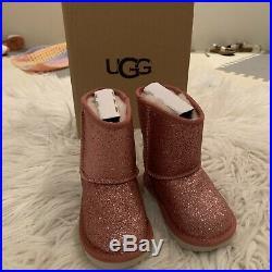 NIB Ugg Classic Short II Toddler Size 6 Pink Glitter Winter Boots