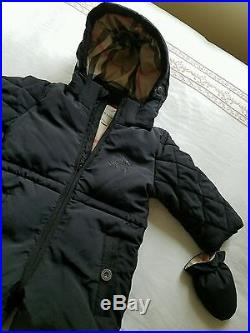 NWOT NEW Burberry baby boys black snowsuit nova lined hood knight logo 12m